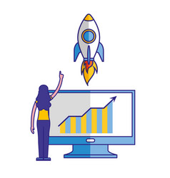 woman with computer and rocket startup vector image