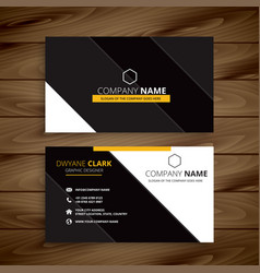 yellow dark modern business card design vector image
