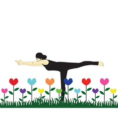 yoga in garden vector image