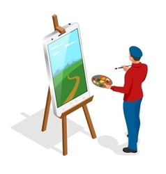 Isometric artist painting with colorful palette vector