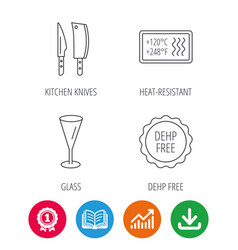 Kitchen knives glass and heat-resistant icons vector