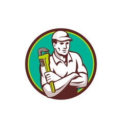 Plumber Monkey Wrench Arms Crossed Circle Retro vector image vector image
