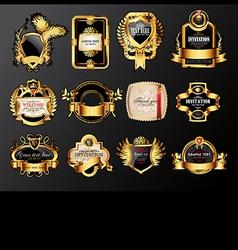 set of golden labels vector image vector image