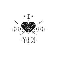 Tribal label with heart vector image vector image