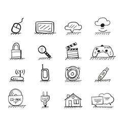 Web hand drawn icons vector image vector image
