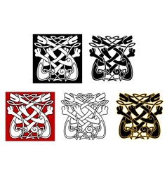 Celtic ornament with dogs and wolves vector image