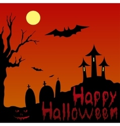 Landscape and blooded inscription happy halloween vector