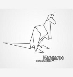 origami logo contour kangaroo vector image
