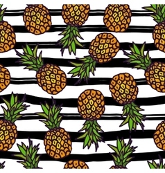 Pineapple seamless pattern on strips background vector image vector image