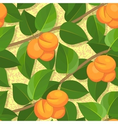 seamless peach on branches background pattern vector image vector image