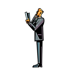 Side view of man holding paper vector image