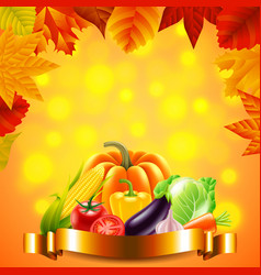 vegetables on autumn background with golden ribbon vector image vector image