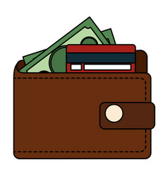 wallet money with credit card and money vector image