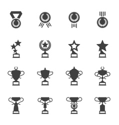 Awards medals and cups icons vector image