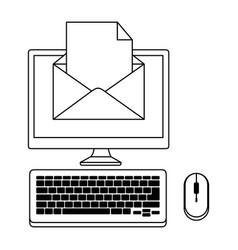 desktop computer with envelope mail vector image vector image