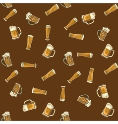 doodle beer glasses pattern vector image vector image