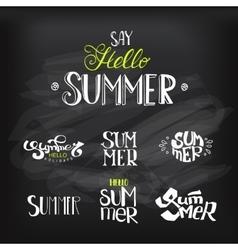 Hello Summer Lettering set at chalkboard vector image vector image