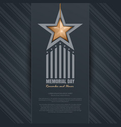 memorial day design remember and honor vector image vector image
