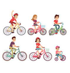 people riding bike flat cyclist on bicycles vector image