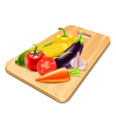 vegetables on wooden board isolated vector image vector image