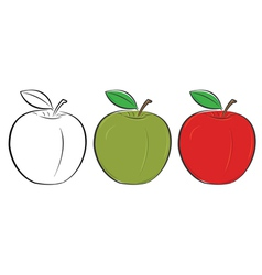 apple outline green red vector image vector image