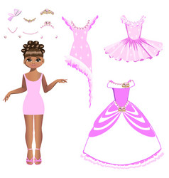 beautiful princess with a collection of dresses vector image