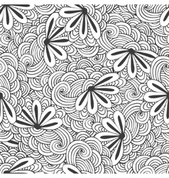 Doodle seamless waves pattern with flowers in vector image vector image
