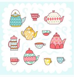 doodles cute elements vector image