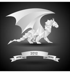 dragon with banner new year 2012 origami vector image