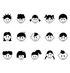 kids head icons vector image vector image