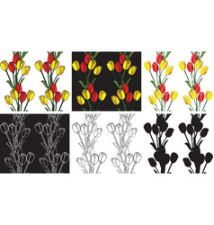 pattern seamless flowers tulips vector image