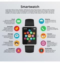 Smartwatch flat design vector image vector image