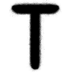 sprayed T font graffiti in black over white vector image vector image