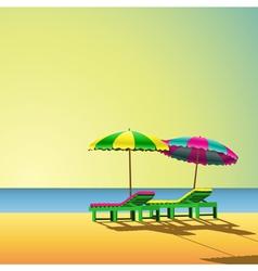 sun loungers vector image