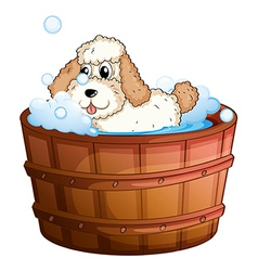A brown bathtub with dog taking bath vector