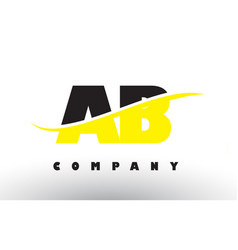 Ab a b black and yellow letter logo with swoosh vector