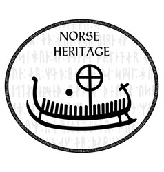 Ancient runestone with engraved scandinavian vector
