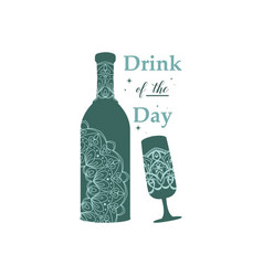Antique mandala shape design bottle beer vector