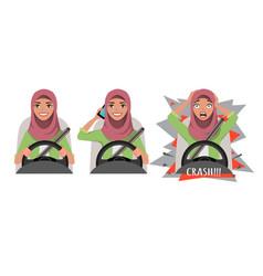 arab woman driving a car woman driving a car vector image