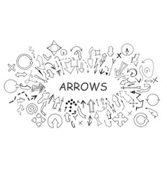 Arrows collection in doodle style hand drawn vector