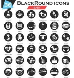 bacircle white black icon set ultra vector image