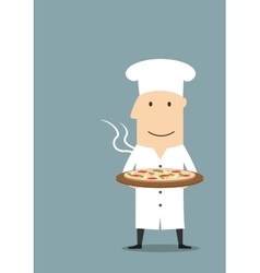 Baker in white hat with hot pepperoni pizza vector