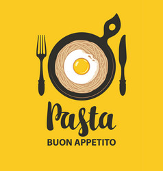banner with italian pasta fried egg and vector image