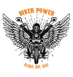 Biker power ride or die human skull on winged vector