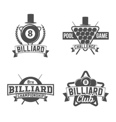 Billiards emblems labels and designed elements vector
