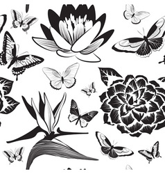 Black and white seamless pattern with flowers and vector