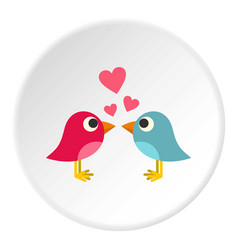Blue and pink birds with hearts icon circle vector