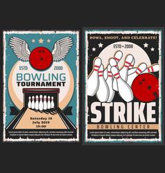 bowling center entertainment game tournament vector image