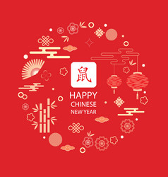 bright banner with chinese elements for 2020 new vector image