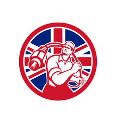 British cable installer union jack flag icon vector